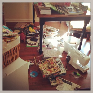 This is a photograph of the massive mess I made in my home office.