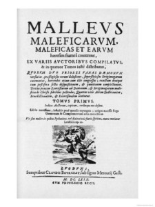 This is the cover of the Malleus Maleficarum, or The Hammer of Witches, which lays down the system of beliefs that led to the European witch trials.  It's chilling beyond chilling.  Wicasta and Christie Jury transcribed the text and posted it online to further education on the text and the trials. It's a very, very difficult thing to read, but it's very, very much more important to build knowledge and make sure nothing like this happens, in any form, again.
