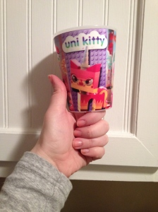 DON'T be embarassed about ordering a gendered Happy Meal.  DO get excited when you see, inside of that gendered Happy Meal, a holographic cup that embodies all of the awesome you could ever imagine.  DO recognize that the Lego Unicorn Kitty who changes from super-happy to super-fierce is your spirit animal.  DON'T stop appreciating how awesome that is, or how awesome the very idea of holograms are.