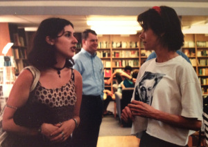 A photograph of Diann and I, posed so as to appear in deep conversation, from 1998.